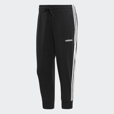 Dames Athletics Zwart Essentials 3-Stripes 3/4 Broek