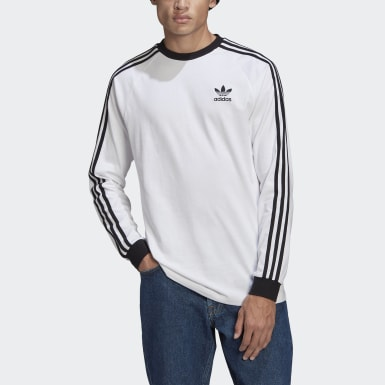 Men Originals White Adicolor Classics 3-Stripes Long Sleeve Tee