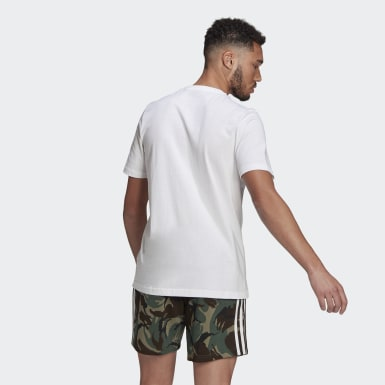 Men Athletics White Essentials Camouflage Print Tee