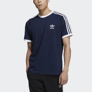Men Originals Blue 3-Stripes Tee