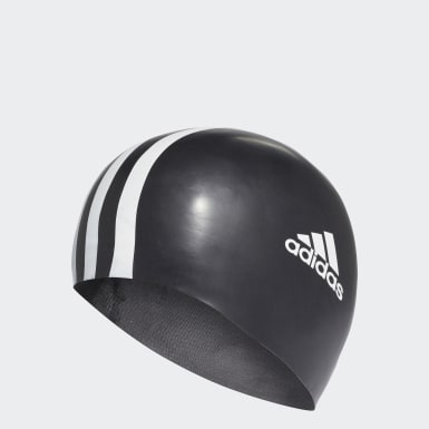 Swimming Black 3-Stripes Swim Cap