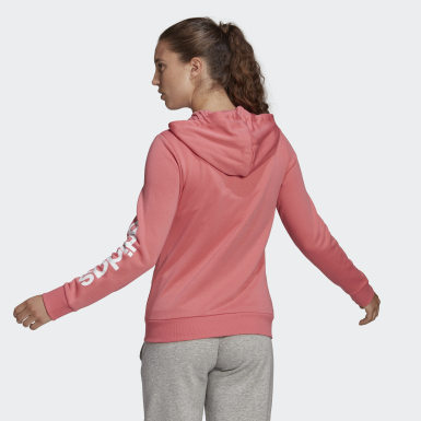 Women Sport Inspired Pink Essentials Logo Full-Zip Hoodie