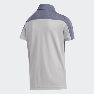 Heathered Colorblocked Polo Shirt Szary