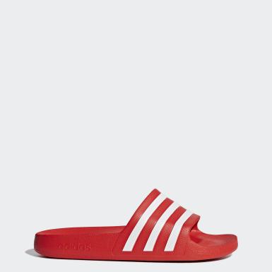 ว่ายน้ำ สีแดง รองเท้าแตะ Adilette Aqua