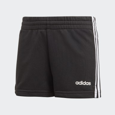 Girls Yoga Black Essentials 3-Stripes Shorts