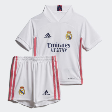 Kids Football White Real Madrid 20/21 Home Mini Kit
