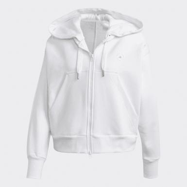 Kvinder adidas by Stella McCartney Hvid Full-Zip Cropped hættetrøje