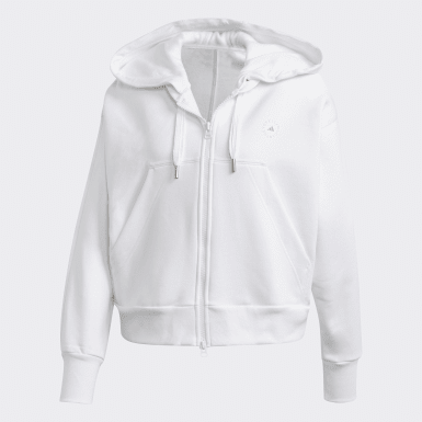 Women adidas by Stella McCartney White Full-Zip Cropped Hoodie