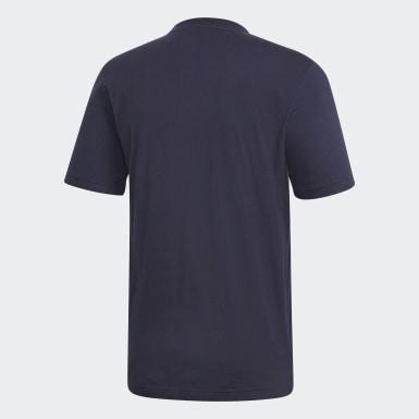 Erkek Training Mavi Essentials Linear Logo Tişört