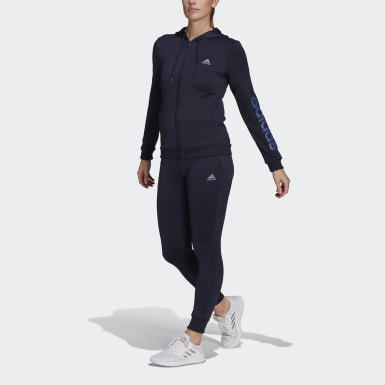 Frauen Athletics Essentials Logo French Terry Trainingsanzug Blau