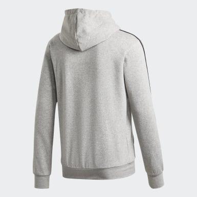Muži Athletics šedá Mikina Essentials 3-Stripes Pullover
