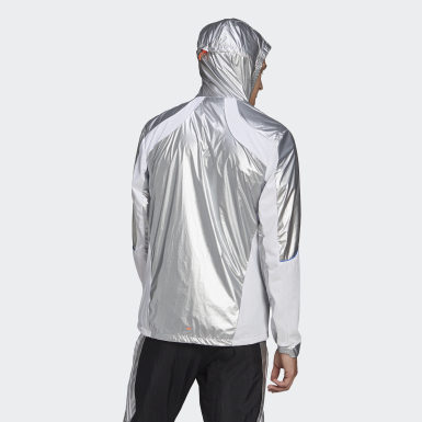 Men Running Silver adidas Marathon Space Race Jacket