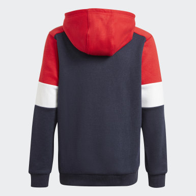 Felpa con cappuccio adidas Essentials Colorblock (Unisex) Blu Bambini Athletics