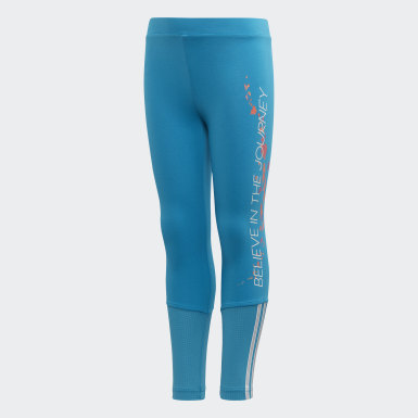 Kids 4-8 Years Training Turquoise Frozen Leggings