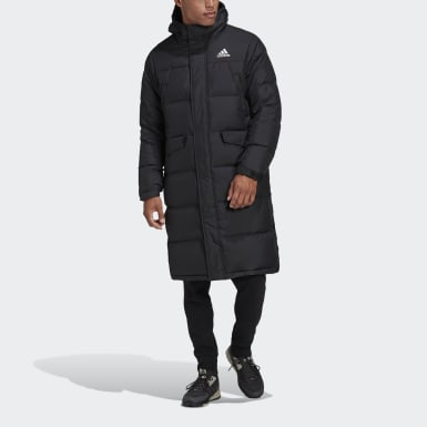 Men City Outdoor Black 3-Stripes Long Down Parka
