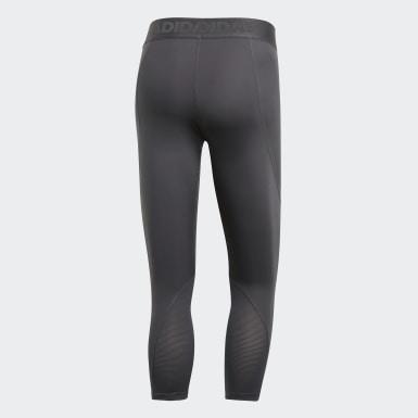 Men Yoga Grey Alphaskin Sport 3/4 Tights