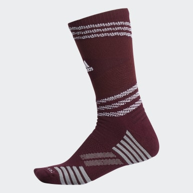 Men's Running Burgundy Speed Mesh Team Crew Socks