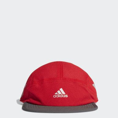 Gorra para correr Cinco Paneles Reflectivo AEROREADY Rojo Running