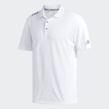 Men's Golf White 3-Stripes Polo Shirt