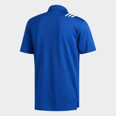 Men's Golf Blue 3-Stripes Polo Shirt