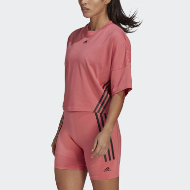 Women Running Pink Cropped Tee
