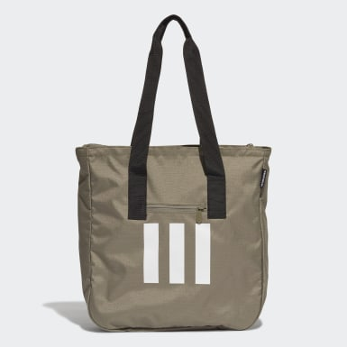 Women Lifestyle Green 3-Stripes Tote Bag