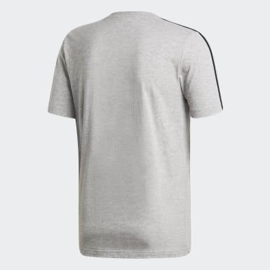 Camiseta Essentials 3 bandas Gris Hombre Athletics