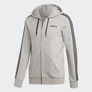 ผู้ชาย เทรนนิง สีเทา เสื้อแทรคแจ็คเก็ต Essentials 3-Stripes