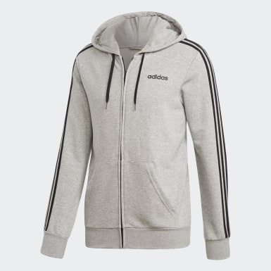 Mænd Athletics Grå Essentials 3-Stripes hættetrøje