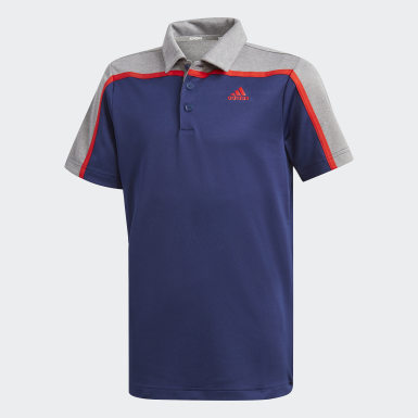 Youth 8-16 Years Golf Blue Heathered Colorblocked Polo Shirt