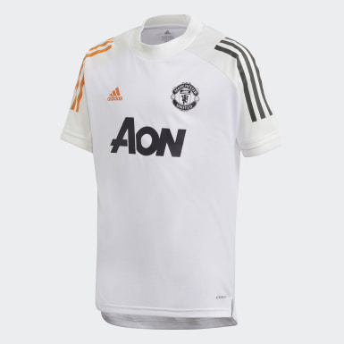 Youth 8-16 Years Football White Manchester United Training Jersey
