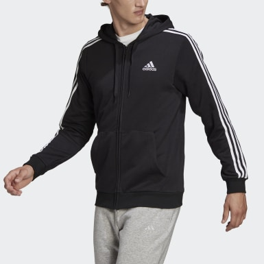 Men Sport Inspired Black Essentials French Terry 3-Stripes Full-Zip Hoodie
