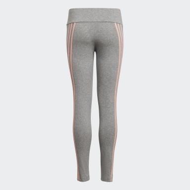 Mädchen Training 3-Streifen Cotton Tight Grau