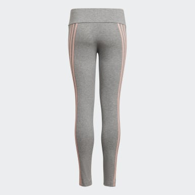 Youth 8-16 Years Training Grey 3-Stripes Cotton Leggings