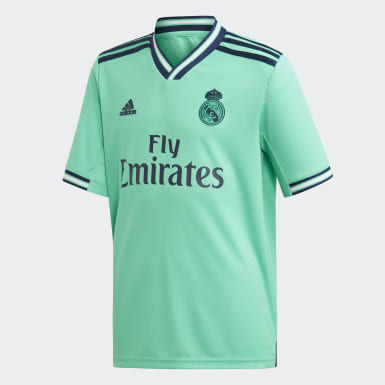 Kids 4-8 Years Football Green Real Madrid Third Youth Kit