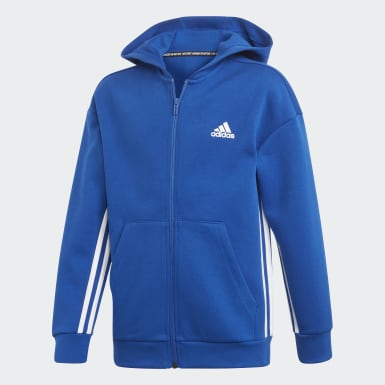 Boys Training Blue Must Haves 3-Stripes Track Top