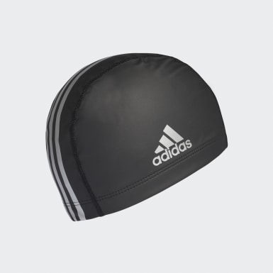 Swimming Black coated fabric swim cap