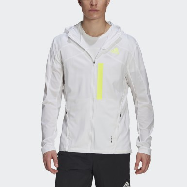 Men Running White Marathon Translucent Jacket