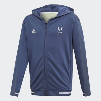 Jungen Training Messi Kapuzenjacke Blau