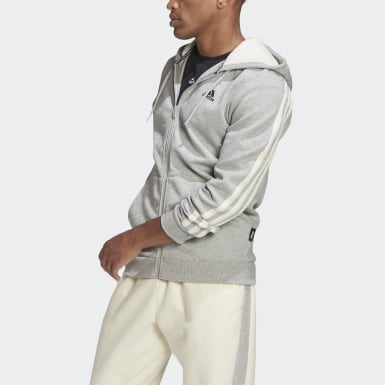 Winter 3-Stripes Full-Zip Hoodie Szary