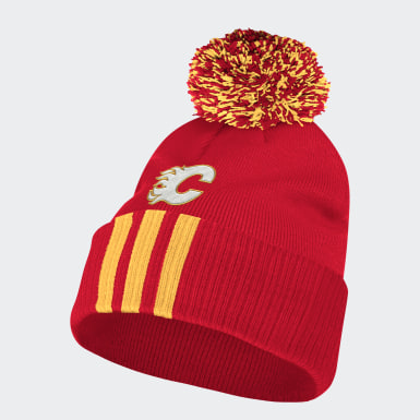 Men Hockey Multi Flames Cuffed Knit Pom Beanie