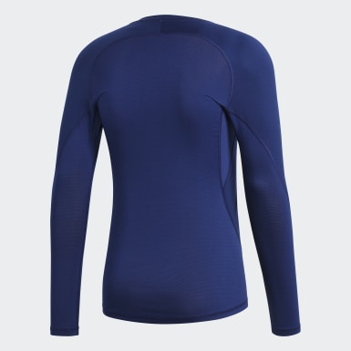 Men Football Blue Alphaskin Sport Long-Sleeve Top