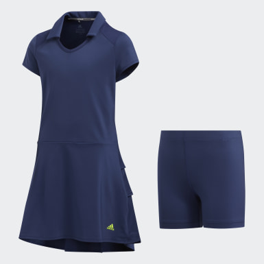 Girls Golf Blue Ruffled Dress