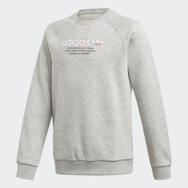 Barn Originals Grå Adicolor Crew Sweatshirt