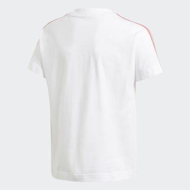 Mädchen Training 3-Streifen T-Shirt Weiß