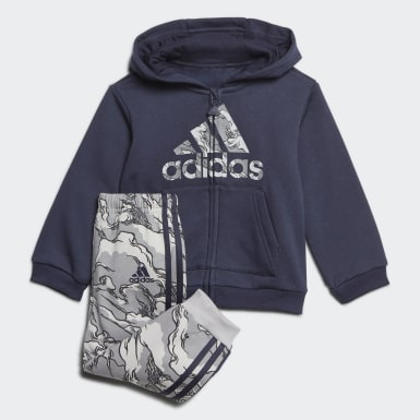 Barn Träning Blå Fleece Hooded Jogger Set