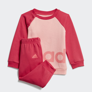 Infants Lifestyle Pink Linear Fleece Jogger Set