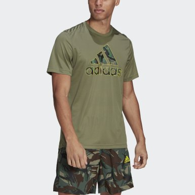 Heren Training Groen adidas Designed 2 Move Camouflage Graphic AEROREADY T-shirt