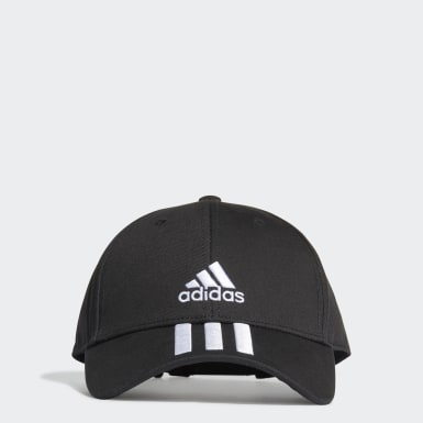 Tennis Black Baseball 3-Stripes Twill Cap