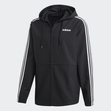 Men's Training Black Essentials 3-Stripes Woven Windbreaker